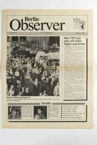 "Zeitschrift Berlin Observer: ""Green Week Goings On"", Vol. 44, No. 5"