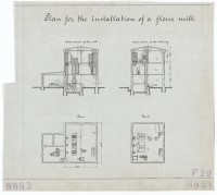 Technische Zeichnung : Plan for the installation of a flour mill ...