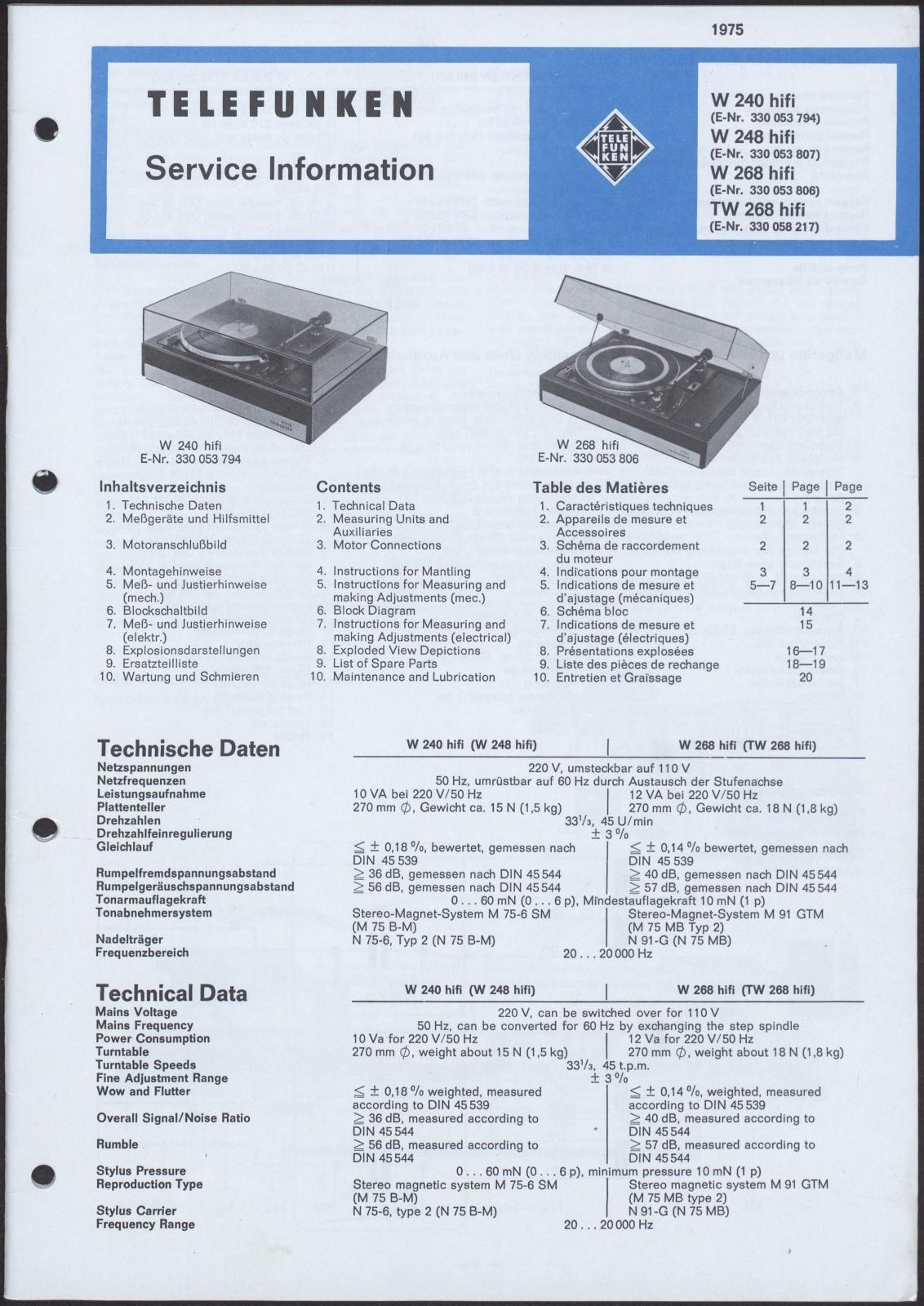 Bedienungsanleitung: Telefunken Service Information für W 240 hifi