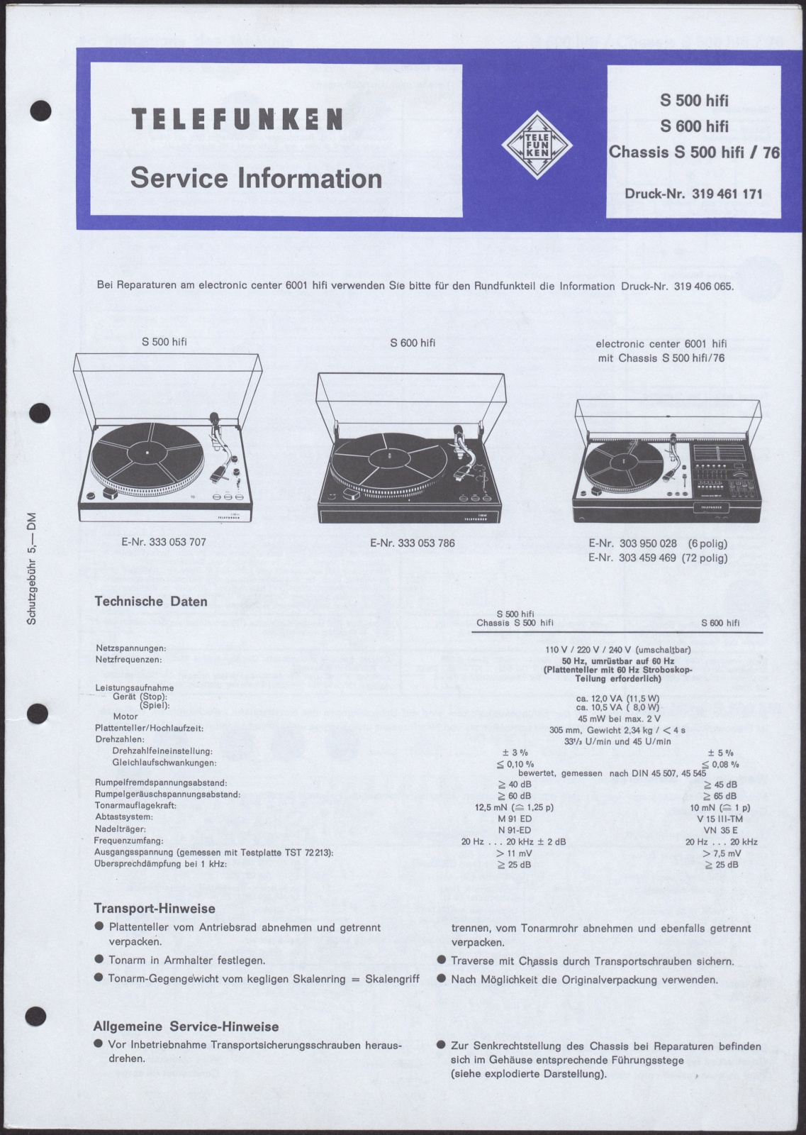 Bedienungsanleitung: Telefunken Service Information für
