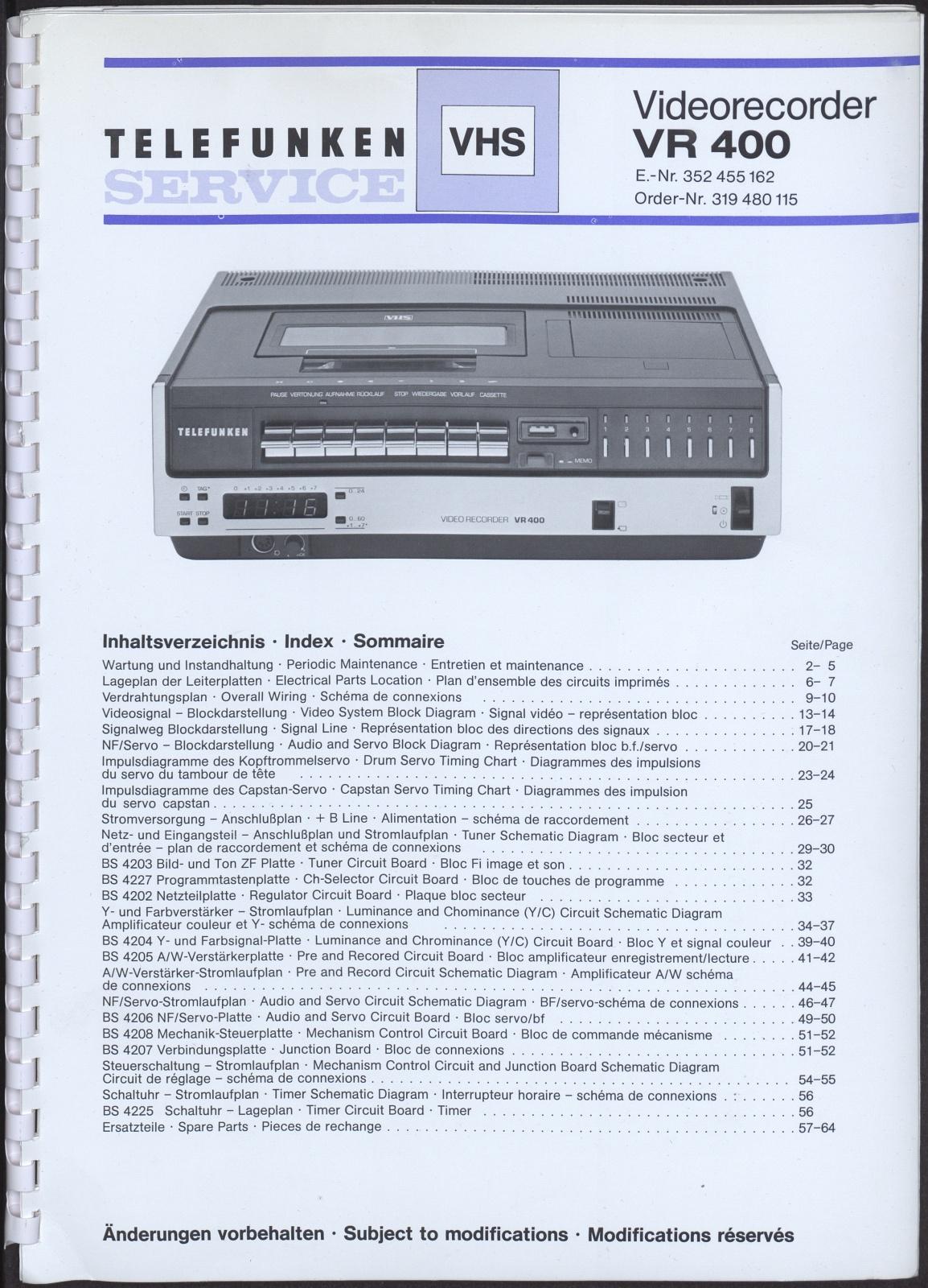 Bedienungsanleitung: Telefunken Service Videorecorder VR 400