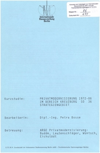 Studie: Privatmodernisierung 1972-86 im Strategiengebiet SO 36